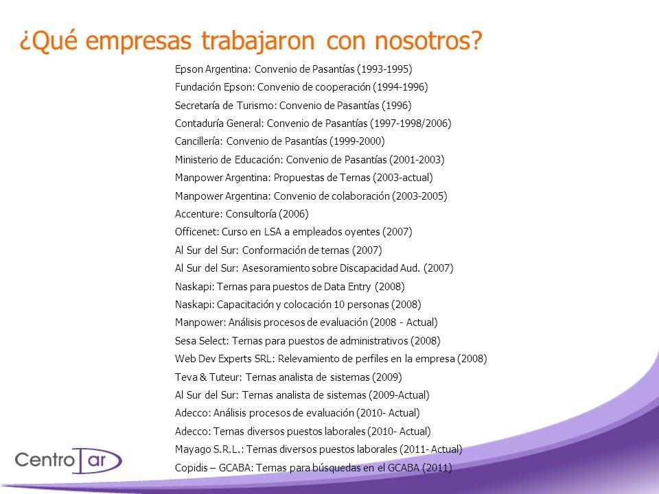 ¿Qué empresas trabajaron con nosotros? Epson Argentina: Convenio de Pasantías (1993-1995) Fundación Epson: Convenio de cooperación (1994-1996) Secreta