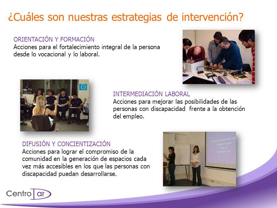 ORIENTACIÓN Y FORMACIÓN Acciones para el fortalecimiento integral de la persona desde lo vocacional y lo laboral. INTERMEDIACIÓN LABORAL Acciones para