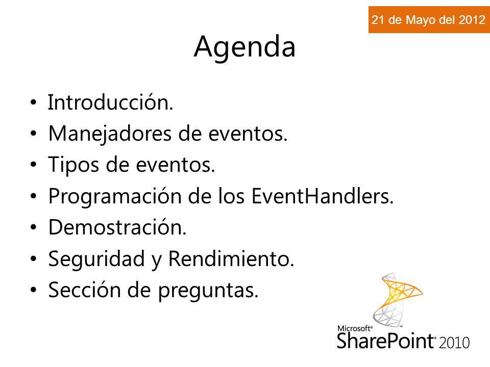 Agenda Introducción. Manejadores de eventos. Tipos de eventos.