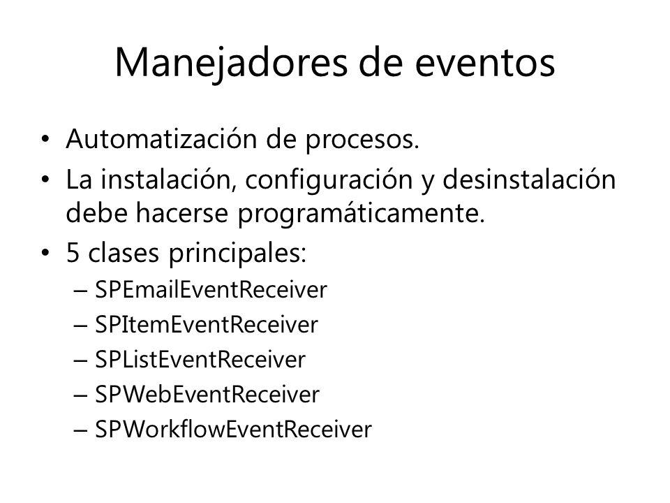 Manejadores de eventos Automatización de procesos.