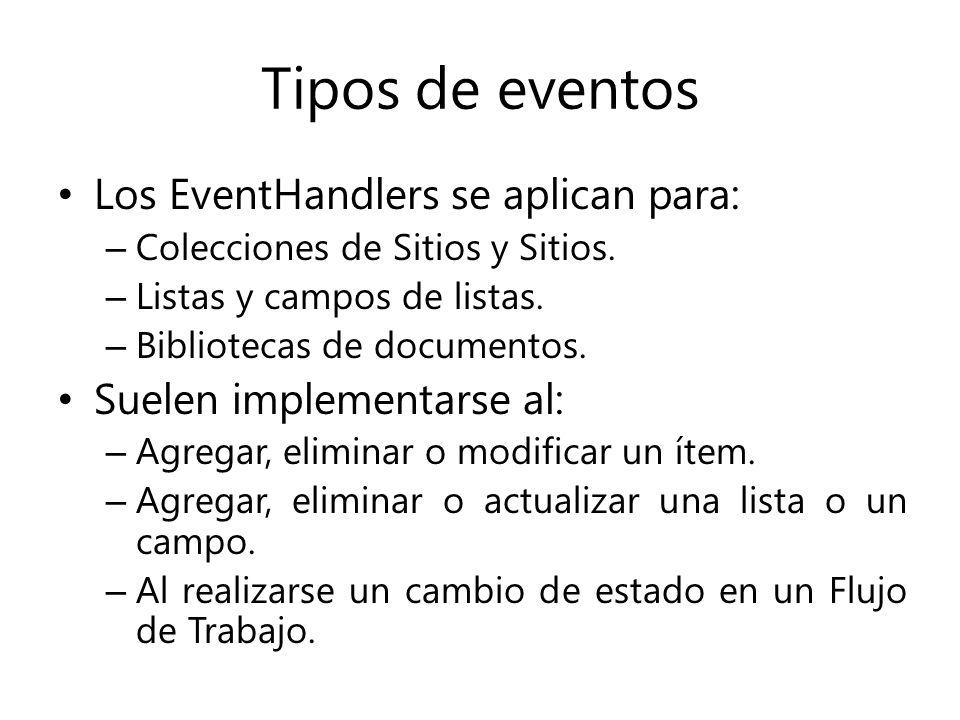 Tipos de eventos Los EventHandlers se aplican para: – Colecciones de Sitios y Sitios.