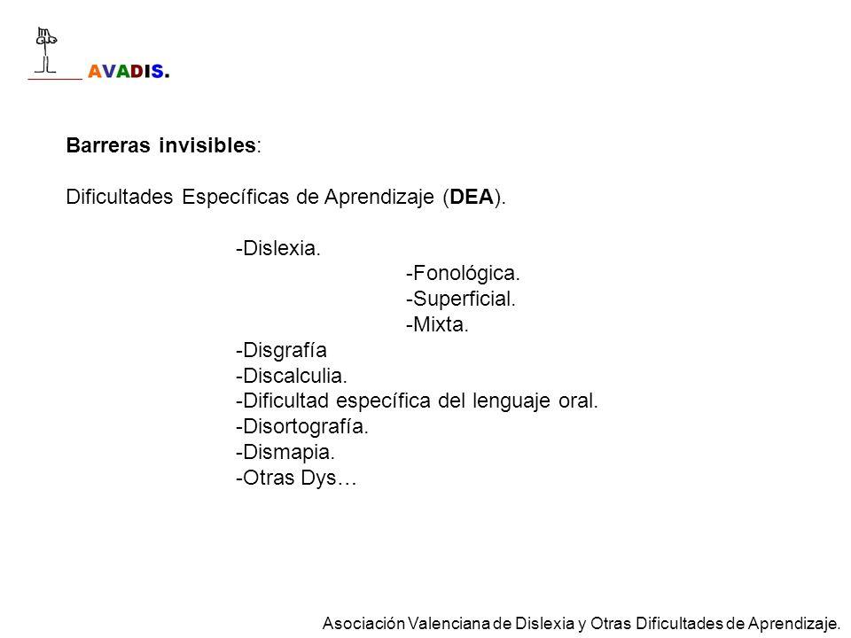 Barreras invisibles: Dificultades Específicas de Aprendizaje (DEA). -Dislexia. -Fonológica. -Superficial. -Mixta. -Disgrafía -Discalculia. -Dificultad