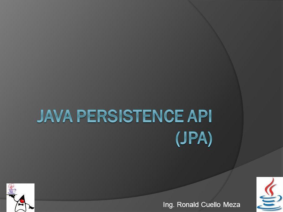 JPA: Java Persistence API Java Persistence API (JPA) proporciona un estándar para gestionar datos relacionales en aplicaciones Java SE o Java EE, de forma que además se simplifique el desarrollo de la persistencia de datos.