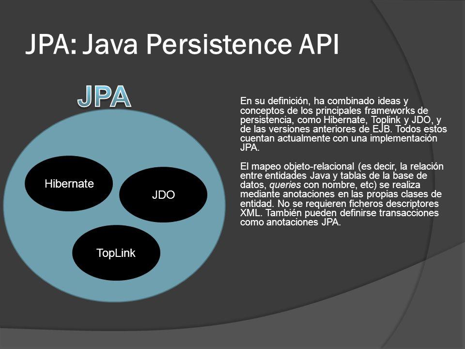 JPA: Java Persistence API El mapeo objeto/relacional, es decir, la relación entre entidades Java y tablas de la base de datos, se realiza mediante anotaciones en las propias clases de entidad, por lo que no se requieren ficheros descriptores XML.
