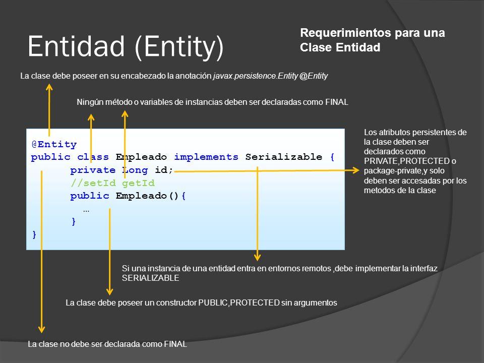 Entidad (Entity) @Entity public class Empleado implements Serializable { private Long id; //setId getId public Empleado(){ … } La clase debe poseer en