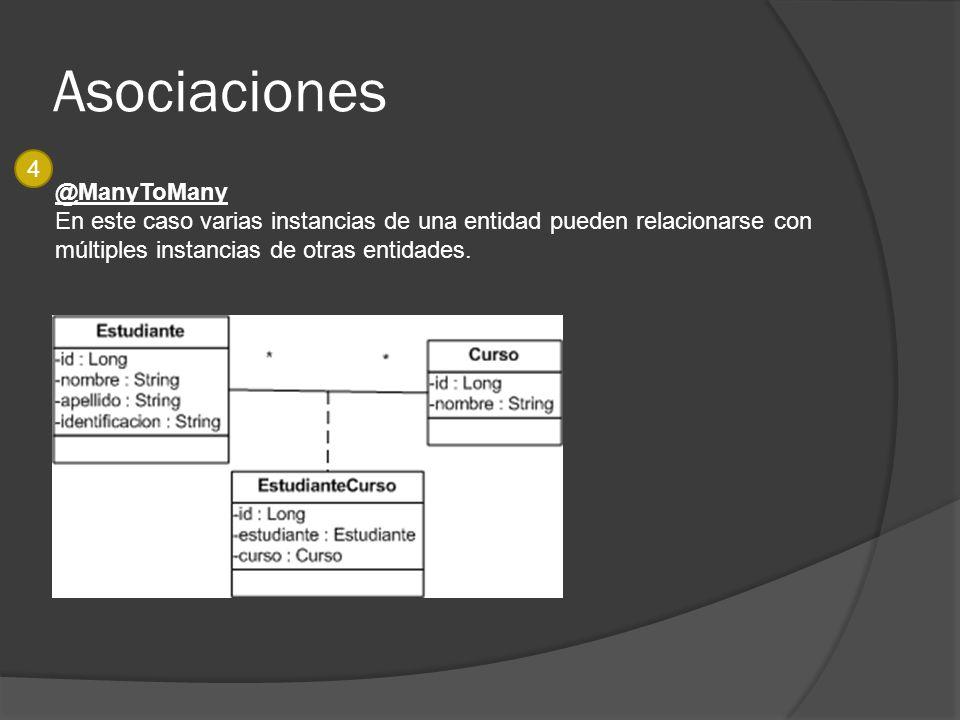 Asociaciones @ManyToMany En este caso varias instancias de una entidad pueden relacionarse con múltiples instancias de otras entidades. 4