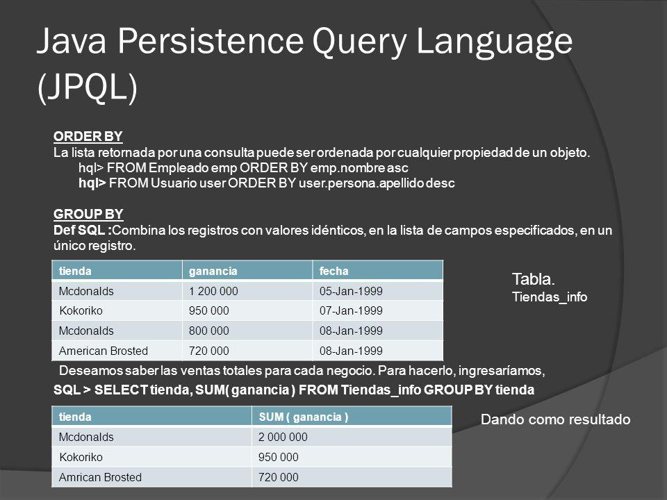 Java Persistence Query Language (JPQL) ORDER BY La lista retornada por una consulta puede ser ordenada por cualquier propiedad de un objeto. hql> FROM