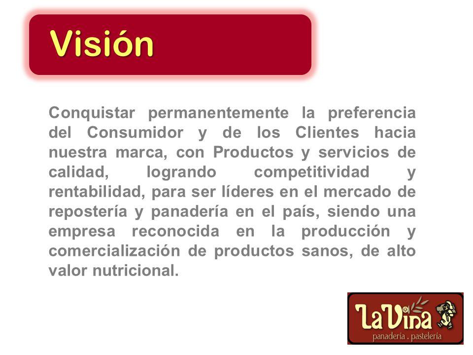 Producir, comercializar y distribuir productos de repostería y panadería de calidad, con el mejor servicio, amparados en una Organización de alto dese