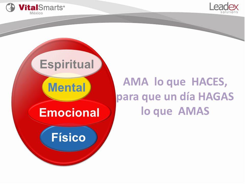 Físico Emocional Mental Espiritual AMA lo que HACES, para que un día HAGAS lo que AMAS