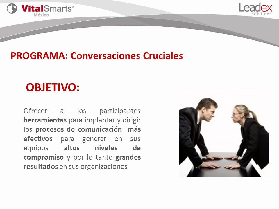 PROGRAMA: Conversaciones Cruciales OBJETIVO: Ofrecer a los participantes herramientas para implantar y dirigir los procesos de comunicación más efecti