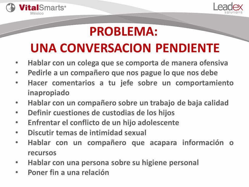 PROBLEMA: UNA CONVERSACION PENDIENTE Hablar con un colega que se comporta de manera ofensiva Pedirle a un compañero que nos pague lo que nos debe Hace
