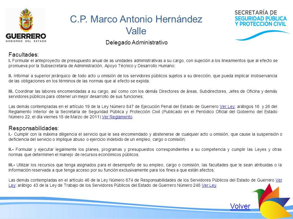 C.P. Marco Antonio Hernández Valle Delegado Administrativo Facultades: I. Formular el anteproyecto de presupuesto anual de as unidades administrativas