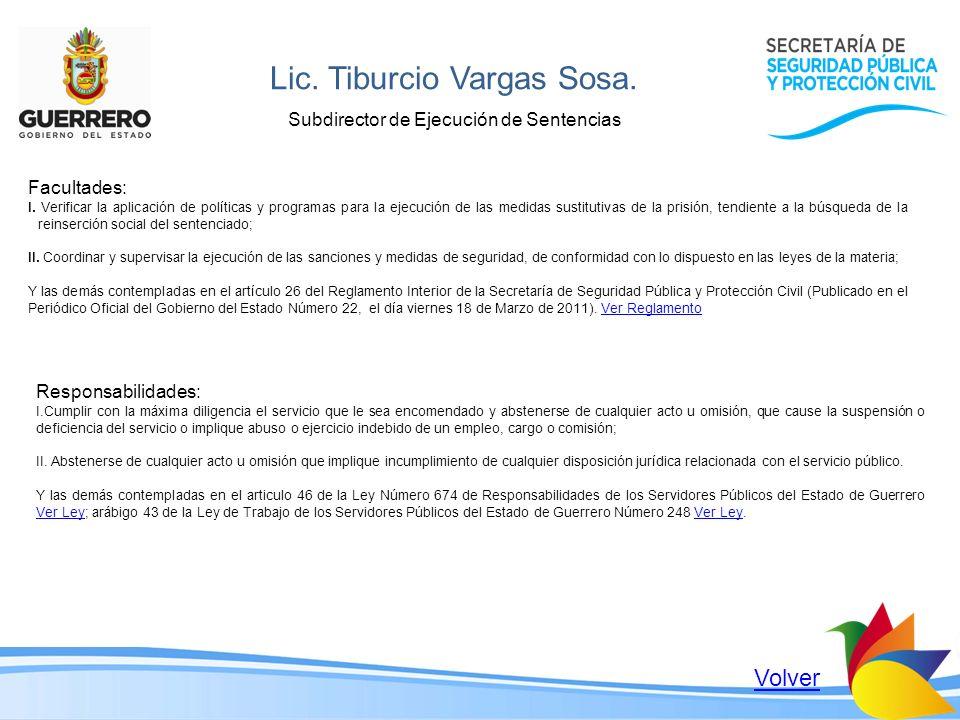 Lic. Tiburcio Vargas Sosa. Subdirector de Ejecución de Sentencias Facultades: I. Verificar la aplicación de políticas y programas para la ejecución de