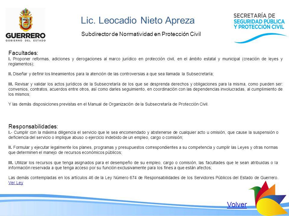 Lic. Leocadio Nieto Apreza Subdirector de Normatividad en Protección Civil Facultades: I. Proponer reformas, adiciones y derogaciones al marco jurídic