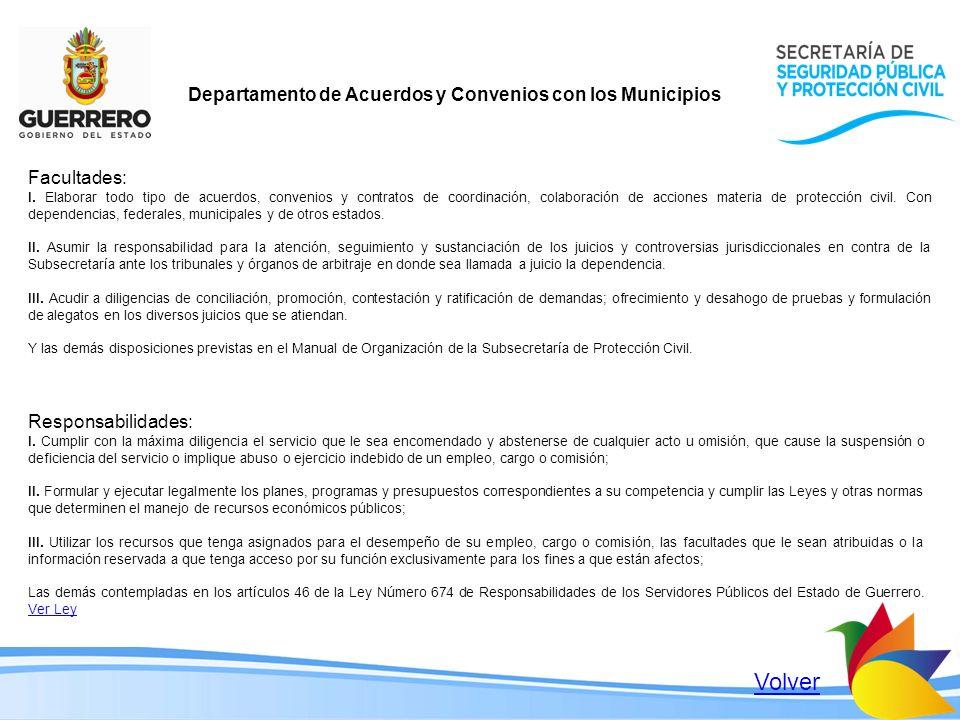 Departamento de Acuerdos y Convenios con los Municipios Facultades: I. Elaborar todo tipo de acuerdos, convenios y contratos de coordinación, colabora