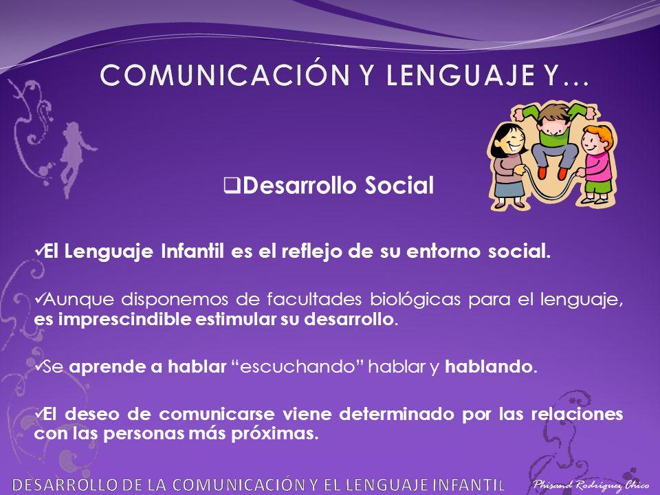 Phisand Rodríguez Chico Desarrollo Social El Lenguaje Infantil es el reflejo de su entorno social. Aunque disponemos de facultades biológicas para el