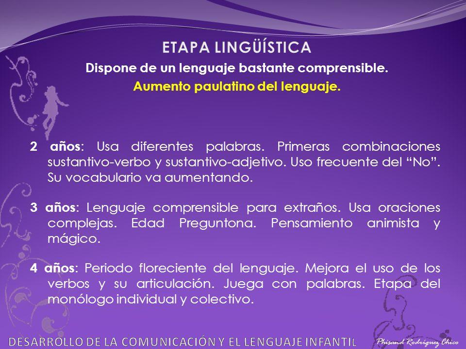 Phisand Rodríguez Chico 2 años : Usa diferentes palabras. Primeras combinaciones sustantivo-verbo y sustantivo-adjetivo. Uso frecuente del No. Su voca