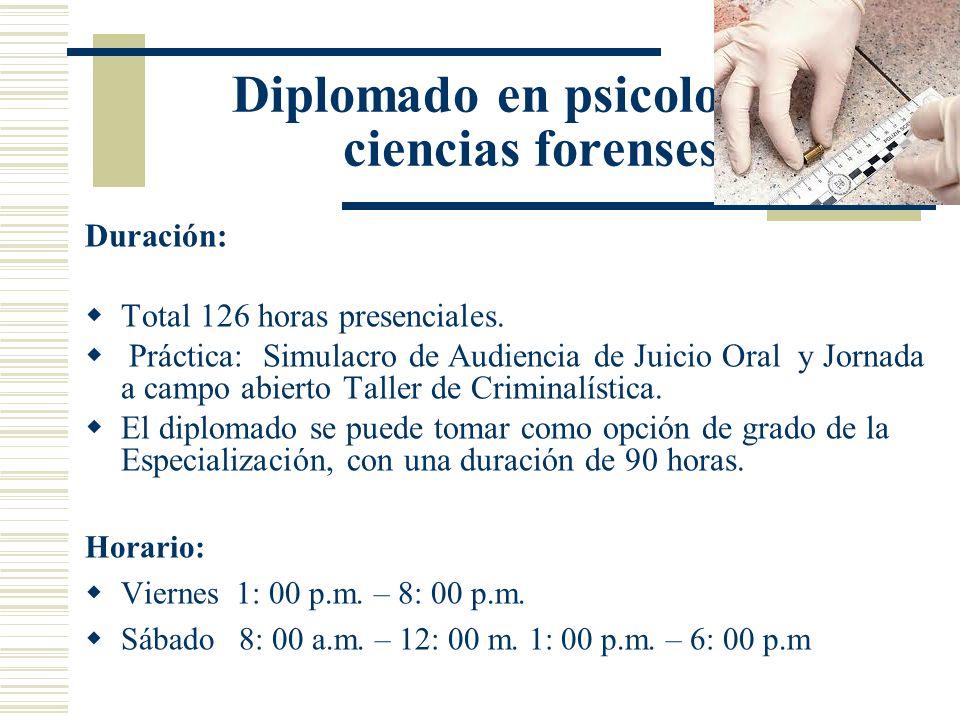 Duración: Total 126 horas presenciales. Práctica: Simulacro de Audiencia de Juicio Oral y Jornada a campo abierto Taller de Criminalística. El diploma