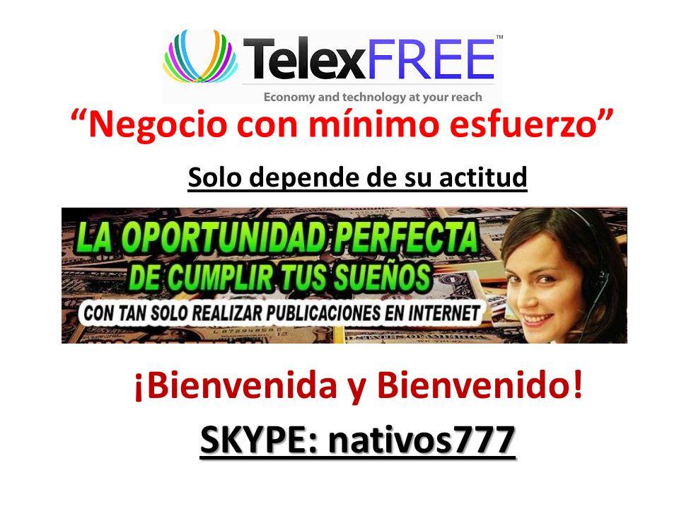 Negocio con mínimo esfuerzo Solo depende de su actitud ¡Bienvenida y Bienvenido! SKYPE: nativos777