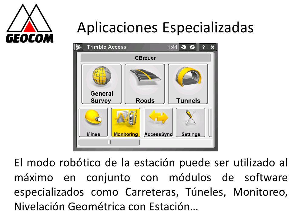 Aplicaciones Especializadas El modo robótico de la estación puede ser utilizado al máximo en conjunto con módulos de software especializados como Carr