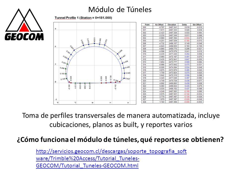 Módulo de Túneles Toma de perfiles transversales de manera automatizada, incluye cubicaciones, planos as built, y reportes varios http://servicios.geo