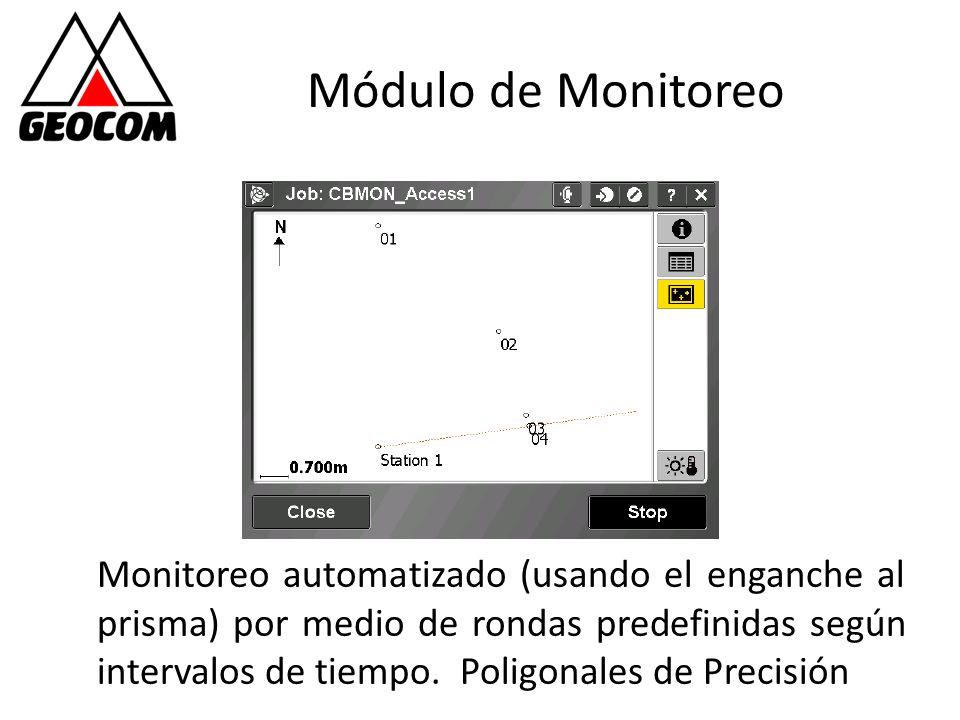Módulo de Monitoreo Monitoreo automatizado (usando el enganche al prisma) por medio de rondas predefinidas según intervalos de tiempo. Poligonales de