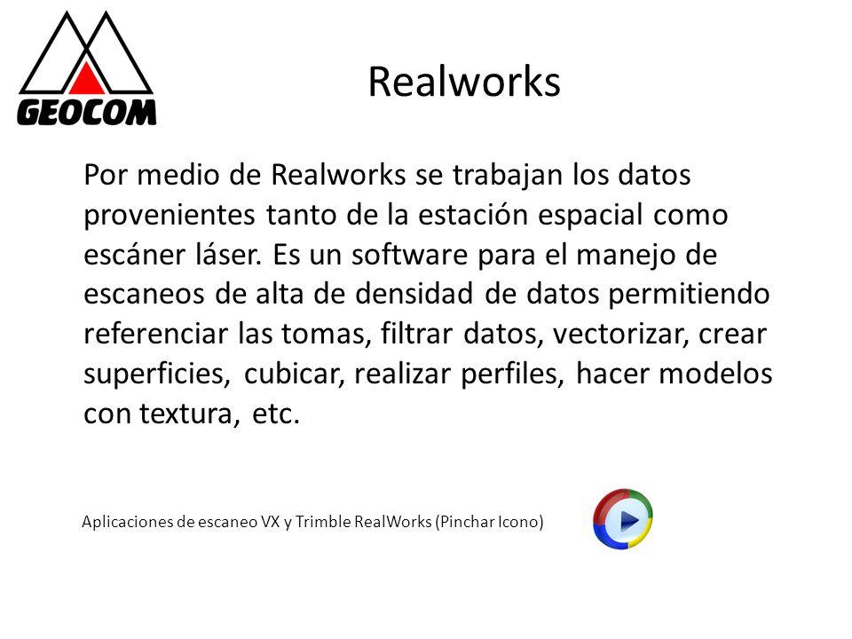 Realworks Por medio de Realworks se trabajan los datos provenientes tanto de la estación espacial como escáner láser. Es un software para el manejo de