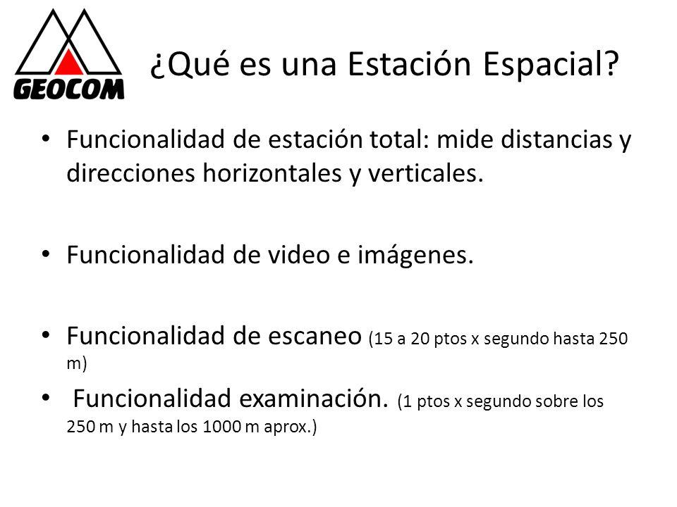 ¿Qué es una Estación Espacial? Funcionalidad de estación total: mide distancias y direcciones horizontales y verticales. Funcionalidad de video e imág