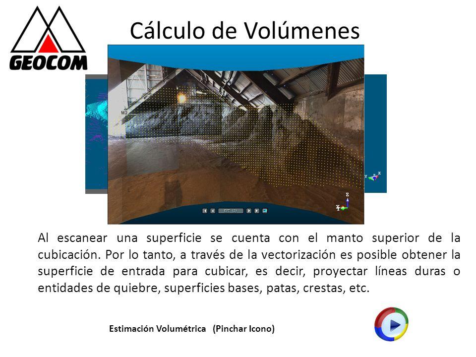 Cálculo de Volúmenes Al escanear una superficie se cuenta con el manto superior de la cubicación. Por lo tanto, a través de la vectorización es posibl
