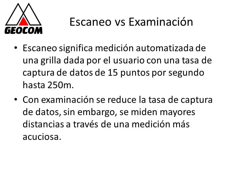Escaneo vs Examinación Escaneo significa medición automatizada de una grilla dada por el usuario con una tasa de captura de datos de 15 puntos por seg