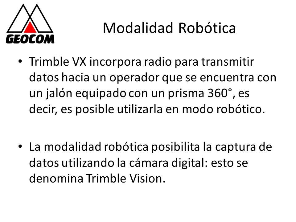 Modalidad Robótica Trimble VX incorpora radio para transmitir datos hacia un operador que se encuentra con un jalón equipado con un prisma 360°, es de