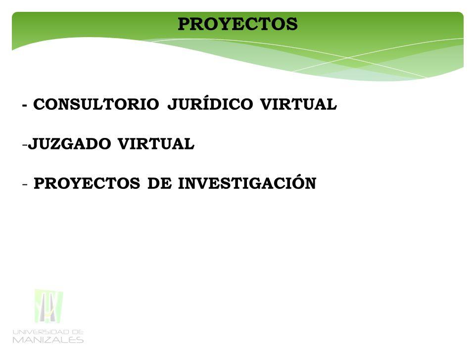 PROYECTOS - CONSULTORIO JURÍDICO VIRTUAL - JUZGADO VIRTUAL - PROYECTOS DE INVESTIGACIÓN