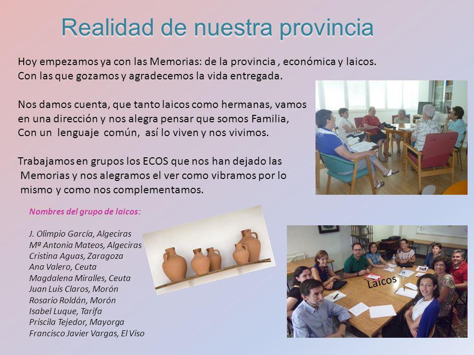 Hoy empezamos ya con las Memorias: de la provincia, económica y laicos.