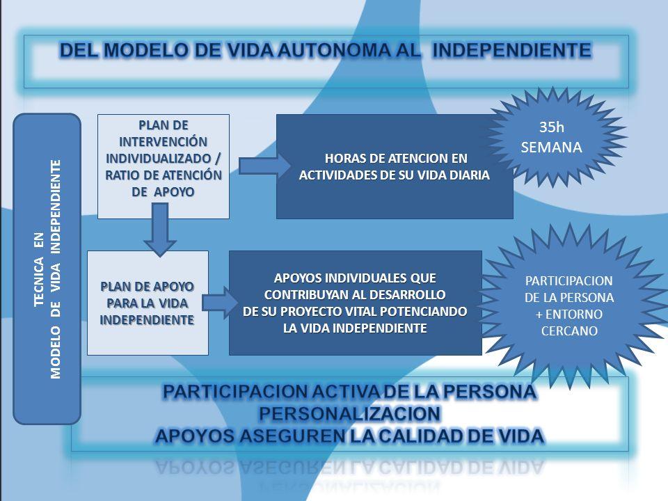PLAN DE INTERVENCIÓN INDIVIDUALIZADO / RATIO DE ATENCIÓN DE APOYO HORAS DE ATENCION EN ACTIVIDADES DE SU VIDA DIARIA HORAS DE ATENCION EN ACTIVIDADES DE SU VIDA DIARIA 35h SEMANA PLAN DE APOYO PARA LA VIDA INDEPENDIENTE APOYOS INDIVIDUALES QUE CONTRIBUYAN AL DESARROLLO DE SU PROYECTO VITAL POTENCIANDO LA VIDA INDEPENDIENTE PARTICIPACION DE LA PERSONA + ENTORNO CERCANO TECNICA EN MODELO DE VIDA INDEPENDIENTE