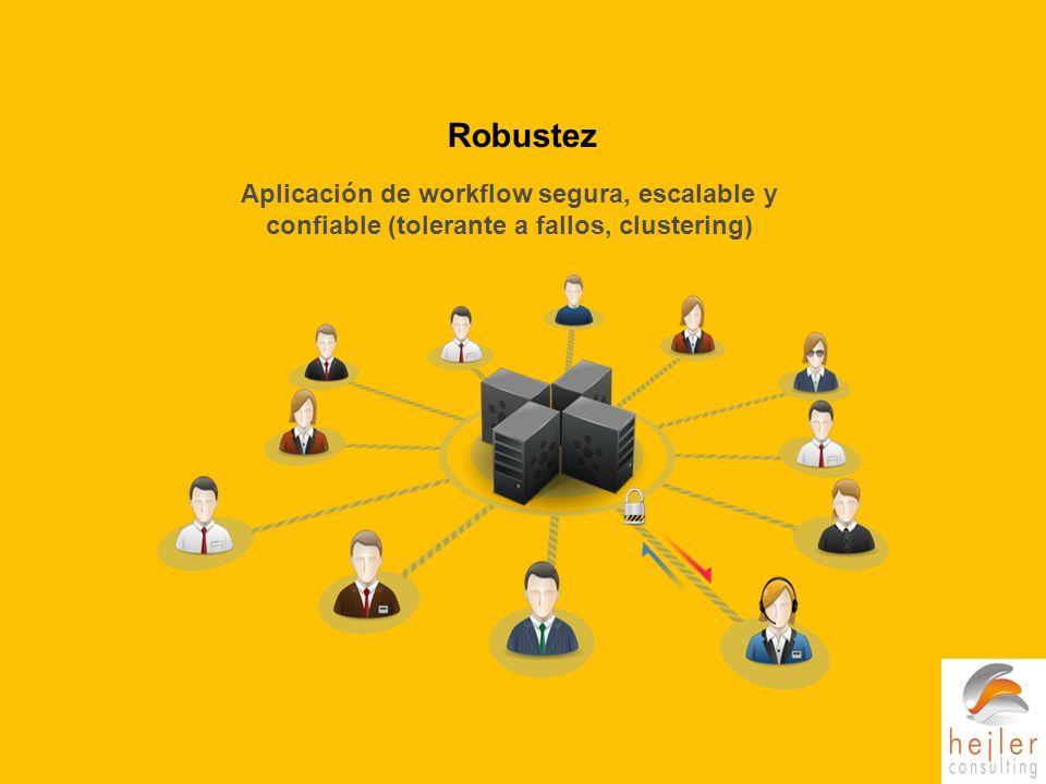 Robustez Aplicación de workflow segura, escalable y confiable (tolerante a fallos, clustering)