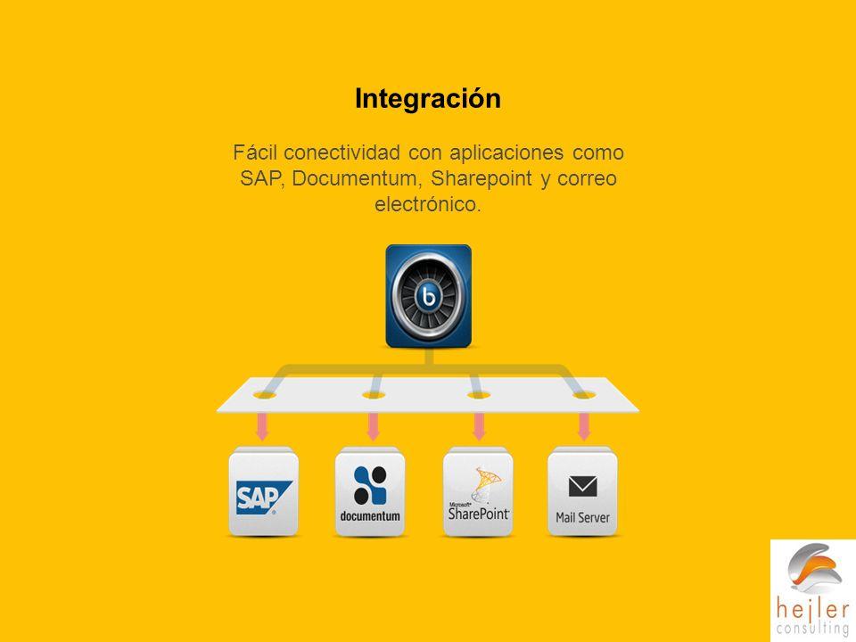 Fácil conectividad con aplicaciones como SAP, Documentum, Sharepoint y correo electrónico.