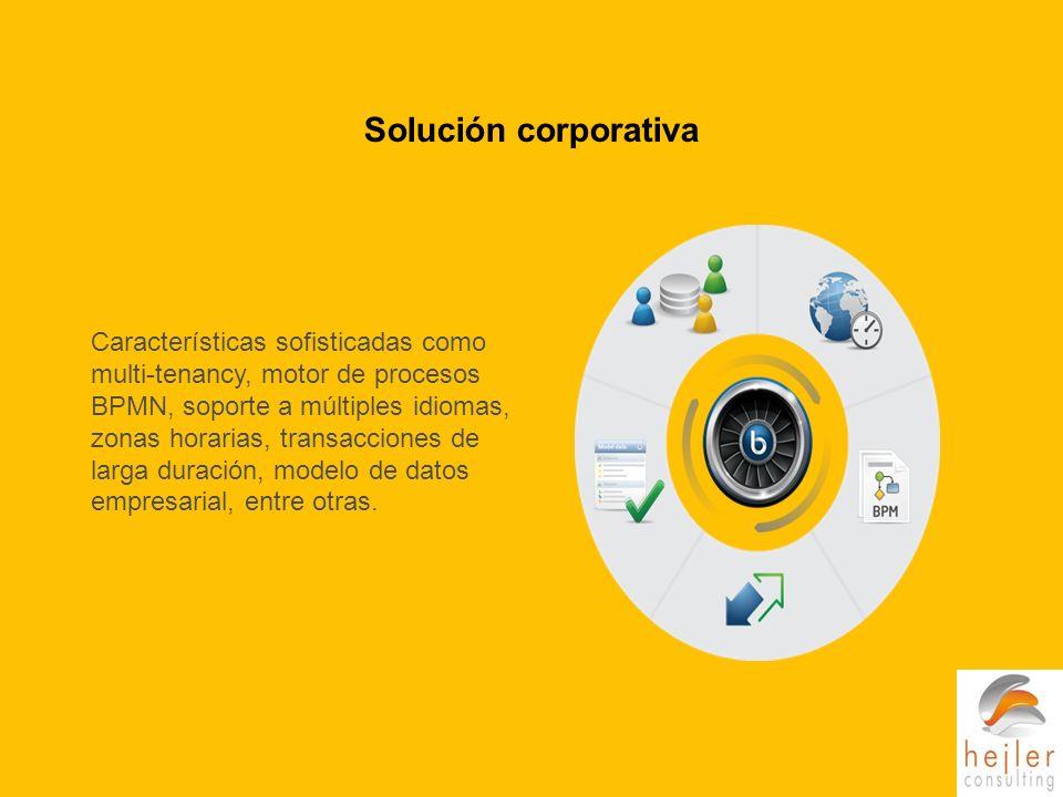 Solución corporativa Características sofisticadas como multi-tenancy, motor de procesos BPMN, soporte a múltiples idiomas, zonas horarias, transacciones de larga duración, modelo de datos empresarial, entre otras.