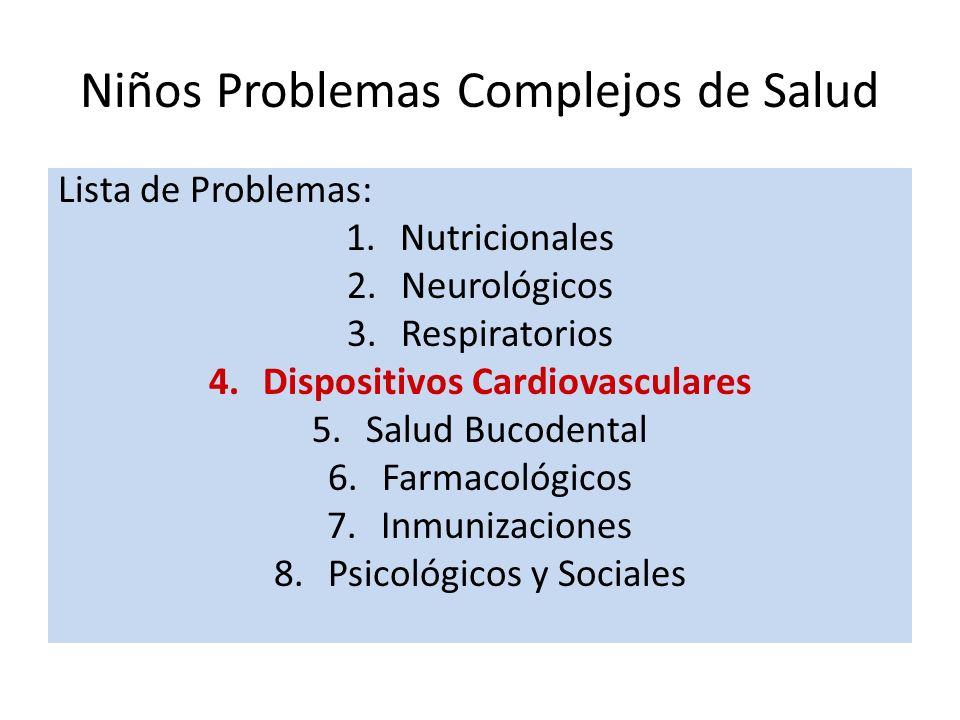 Niños Problemas Complejos de Salud Lista de Problemas: 1.Nutricionales 2.Neurológicos 3.Respiratorios 4.Dispositivos Cardiovasculares 5.Salud Bucodent
