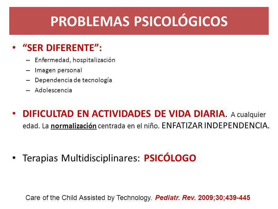 PROBLEMAS PSICOLÓGICOS SER DIFERENTE: – Enfermedad, hospitalización – Imagen personal – Dependencia de tecnología – Adolescencia DIFICULTAD EN ACTIVID