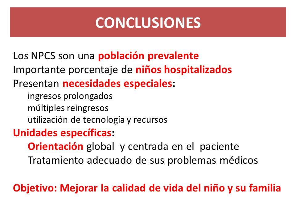 Los NPCS son una población prevalente Importante porcentaje de niños hospitalizados Presentan necesidades especiales: ingresos prolongados múltiples r