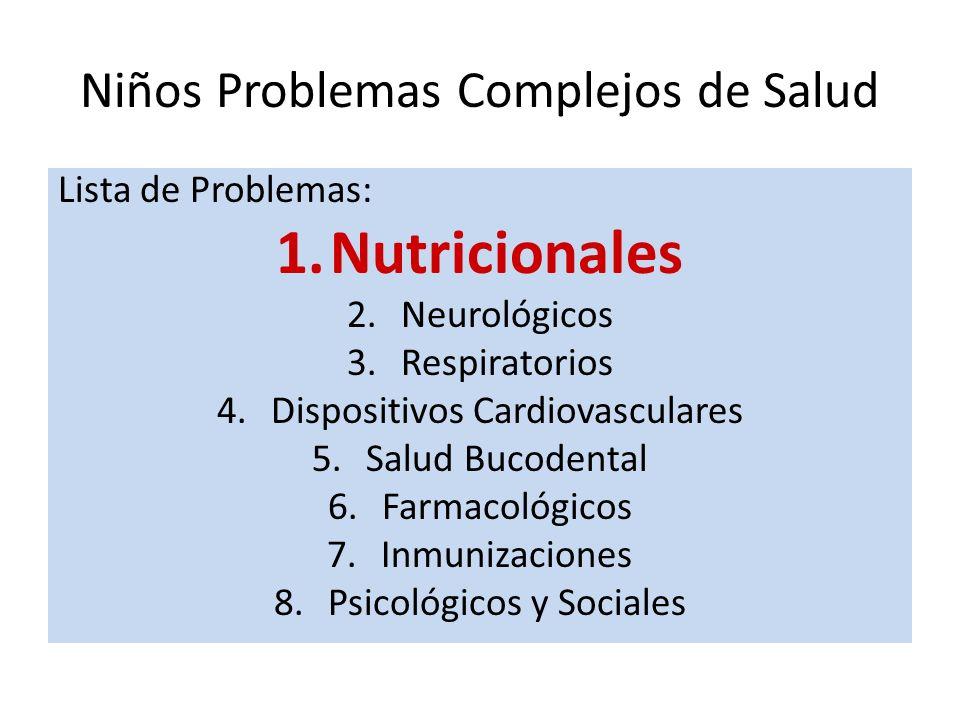 Niños Problemas Complejos de Salud Lista de Problemas: 1.Nutricionales 2.Neurológicos 3.Respiratorios 4.Dispositivos Cardiovasculares 5.Salud Bucodental 6.Farmacológicos 7.Inmunizaciones 8.Psicológicos y Sociales