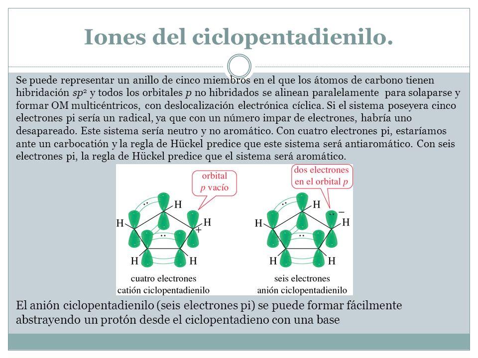 Iones del ciclopentadienilo.