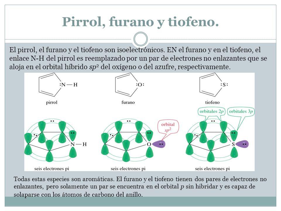 Pirrol, furano y tiofeno.El pirrol, el furano y el tiofeno son isoelectrónicos.