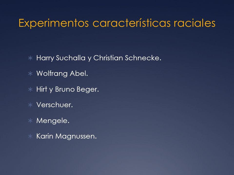 Experimentos características raciales Harry Suchalla y Christian Schnecke.