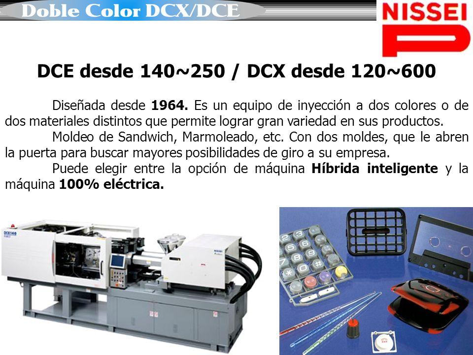 DCE desde 140~250 / DCX desde 120~600 Diseñada desde 1964. Es un equipo de inyección a dos colores o de dos materiales distintos que permite lograr gr