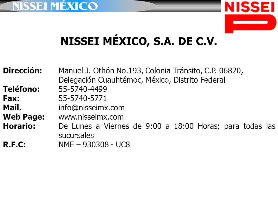 NISSEI MÉXICO, S.A. DE C.V. Dirección: Manuel J. Othón No.193, Colonia Tránsito, C.P. 06820, Delegación Cuauhtémoc, México, Distrito Federal Teléfono: