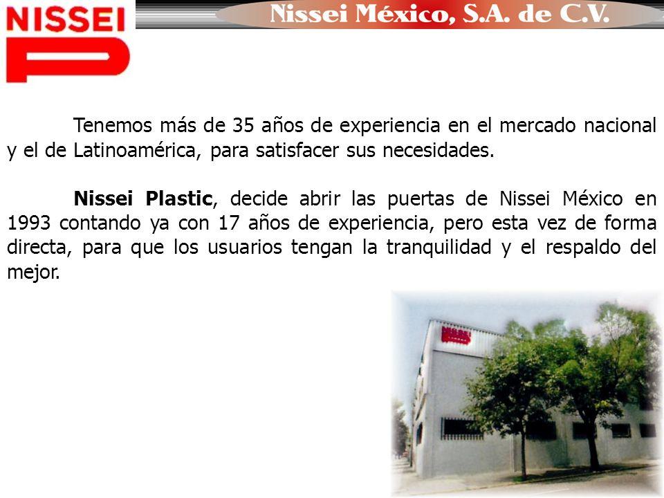 Tenemos más de 35 años de experiencia en el mercado nacional y el de Latinoamérica, para satisfacer sus necesidades. Nissei Plastic, decide abrir las