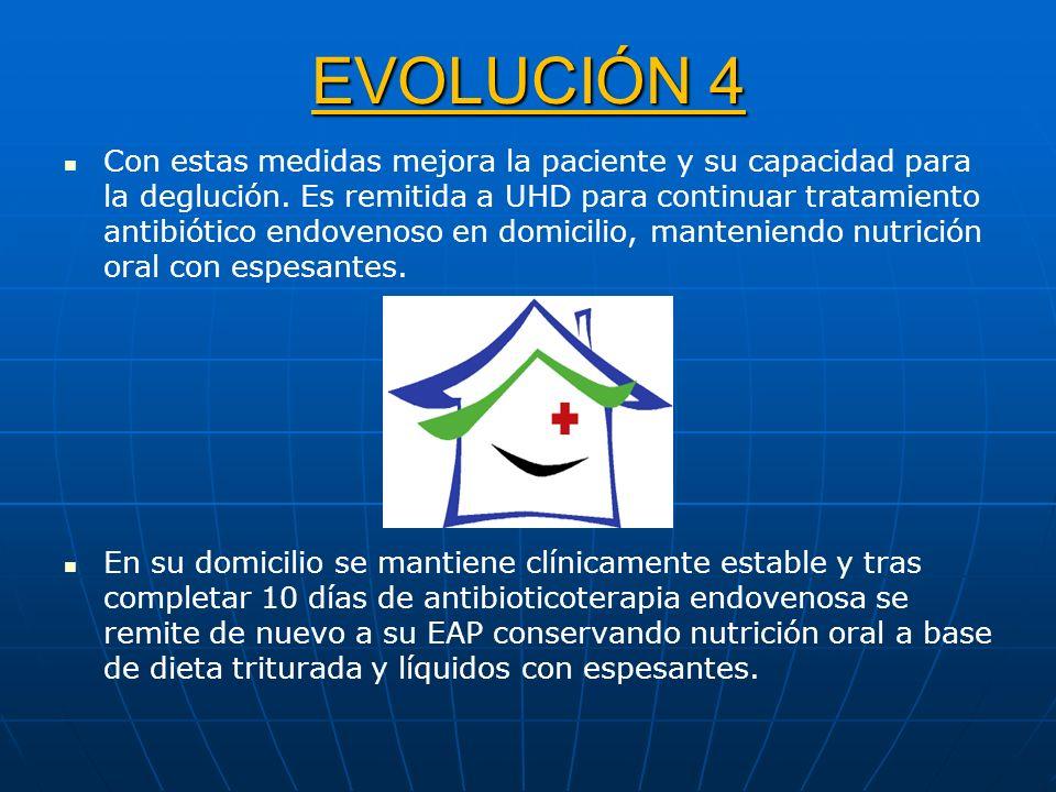 EVOLUCIÓN 4 Con estas medidas mejora la paciente y su capacidad para la deglución. Es remitida a UHD para continuar tratamiento antibiótico endovenoso