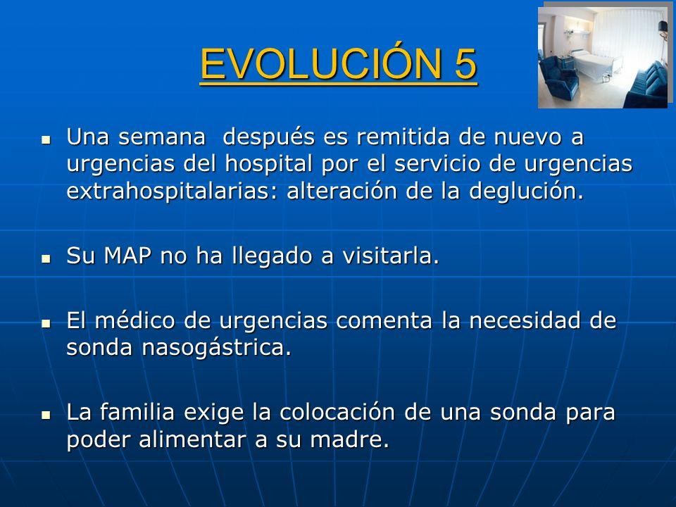 EVOLUCIÓN 5 Una semana después es remitida de nuevo a urgencias del hospital por el servicio de urgencias extrahospitalarias: alteración de la degluci