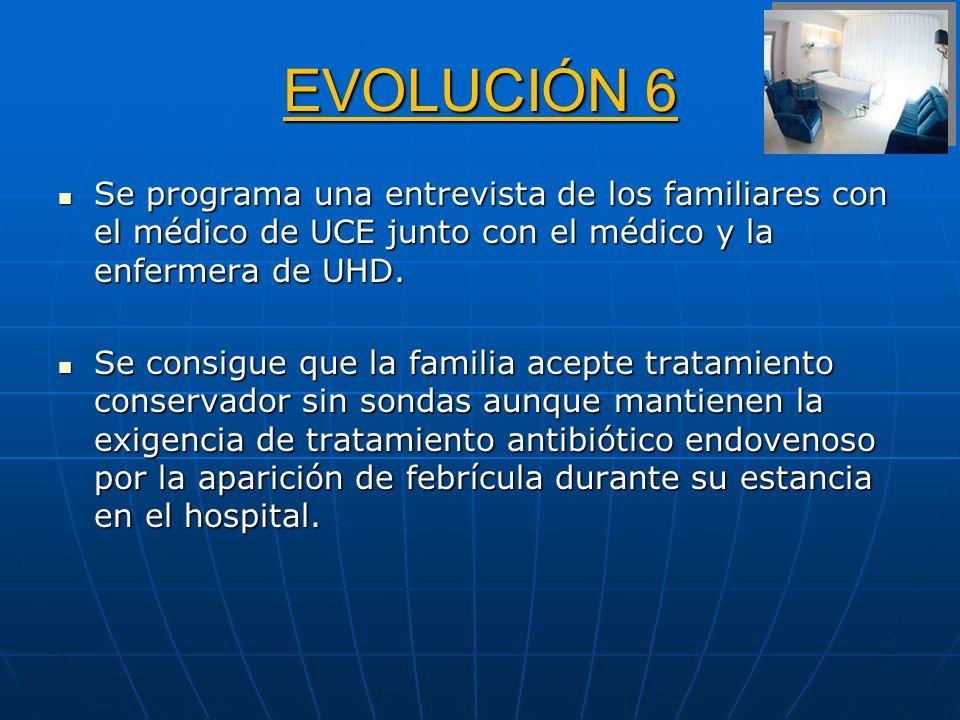 EVOLUCIÓN 6 Se programa una entrevista de los familiares con el médico de UCE junto con el médico y la enfermera de UHD. Se programa una entrevista de